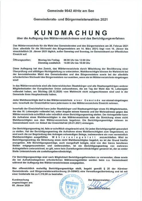 Gemeinderats- und Bügermeisterwahl 2021: Wählerverzeichnis und Berichtigungsverfahren